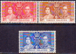 BRITISH VIRGIN ISLANDS 1937 SG 107-109 Compl.set Used Coronation - British Virgin Islands
