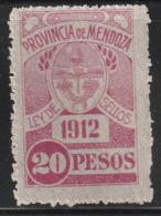 FISCAUX / REVENUE - MENDOZA - 1 Timbre ** 20 PESOS (1912) - Argentina