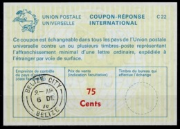 BELIZE ( BRITISH HONDURAS ) La22B 75 Cents Internat.Reply Coupon Reponse AntwortscheinIRC IASo BELIZE CITY 6.12.76 - Belize (1973-...)