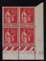 FRANCE  Coin Daté ** Type Paix 50c Rouge Yvert 283  27.6.35  Neuf Sans Charnière - Coins Datés