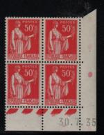 FRANCE  Coin Daté ** Type Paix 50c Rouge Yvert 283  30.7.35  Neuf Sans Charnière - Coins Datés