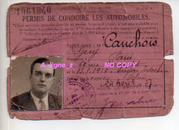REF EX2 : Permis De Conduire 1937 Cauchois Rue Marcadet Saigon Indochine Transport - Titres De Transport
