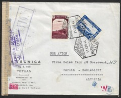 1944 TETUAN MARRUECOS A ALEMANIA Via Madrid- Correo Aereo POR AVION - Censura Doble Tetuan + OKW. - Spaans-Marokko