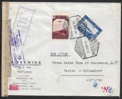 1944 TETUAN MARRUECOS A ALEMANIA Via Madrid- Correo Aereo POR AVION - Censura Doble Tetuan + OKW. - Maroc Espagnol