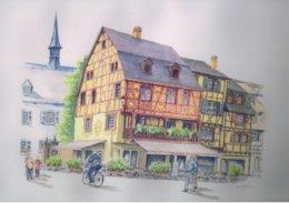 """Reproduction D'une Aquarelle De Marcel Hemmerlé """"Maisons Alsaciennes à Colmar"""" - Aquarelles"""