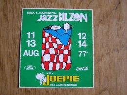 ROCK Et JAZZFESTIVAL Concert Rock Jazz Bilzen Août 1977 België Belgique Souvenirs Autocollant Sticker Collections - Adesivi