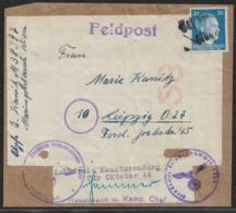 1944 Dt.Reich Päckchen ADRESSE. Teil Stpl BEI DER FELDPOST EINGELIEFERT - Zollfreie Monatssendung Okt 44 - Cartas
