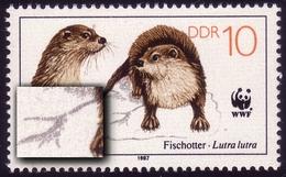 3107I Fischotter 10 Pf: Bruch Der Fußspur, Feld 30, ** - DDR