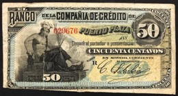 Rep. Dominicana 1880-1889 BANCO DE LA COMPANIA DE CREDITO DE PUERTO PLATA 50 CENTAVOS Pick#s102 Lotto.2761 - Dominicana