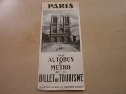 Ancien Billet De Tourisme (1960) PARIS Par Autobus Et Métro - Vieux Papiers