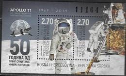 BOSNIA SERB, 2019, MNH, SPACE, MOONLANDING, S/SHEET - Space