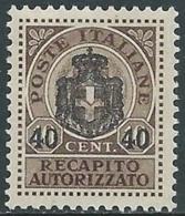1945 LUOGOTENENZA RECAPITO AUTORIZZATO SOPRASTAMPATO 40 SU 10 CENT MNH ** - UR43 - 5. 1944-46 Lieutenance & Umberto II