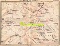 ANCIENNE PETIT PLAN COUPURE DEPLIANT HACHETTE  15 CM X 18 CM ENVIRONS DE ZERMATT - Cartes Routières
