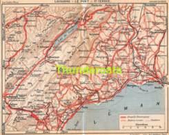 ANCIENNE PETIT PLAN COUPURE DEPLIANT HACHETTE  15 CM X 18 CM LAUSANNE LE PONT ST CERGUE - Strassenkarten