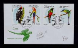 """Trogon Massena"" NICARAGUA 1981 Fdc ""Ara / Arara"" Birds ""Momotus Momota"" Oiseaux ""Dryocopus Lineatus"" Gc4197 - Perroquets & Tropicaux"