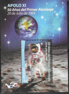URUGUAY , 2019, MNH,  SPACE, MOON LANDING, 3-D S/SHEET - Space