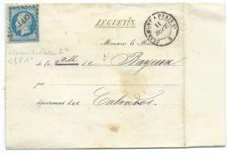 N° 14 BLEU NAPOLEON SUR LETTRE / AMBULANT CLERMONT A PARIS 2° POUR BAYEUX 11 SEPT 1858 / GRIFFE LE GUETIN - 1849-1876: Période Classique