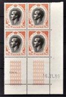 MONACO 1960 / BLOC DE 4 TP / N° 544 NEUFS** COIN DE FEUILLE / DATE - Monaco