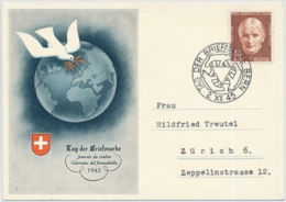 Pro Juventute 114 Auf Offizieller Karte TAG DER BRIEFMARKE 1945 Bern - Pro Juventute