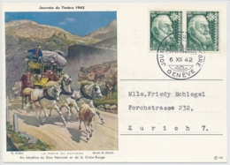 Pro Juventute 101 Auf Offizieller Karte TAG DER BRIEFMARKE 1942 Genève - Lettres & Documents