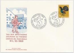 Pro Juventute 224 Auf Offizieller Karte TAG DER BRIEFMARKE 1968 Wil SG - Lettres & Documents