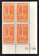 MONACO 1966 - BLOC DE 4 TP N° 698  - NEUFS ** COIN DE FEUILLE / DATE - Monaco