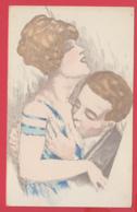 CPA Illustrée -LES AMOUREUX 1900 - BAISER COQUIN - Erotique - 2 SCAN - Non Classificati