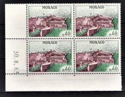 MONACO 1960 - BLOC DE 4 TP COIN DE FEUILLE / DATE / N° 545A - NEUFS ** - Monaco