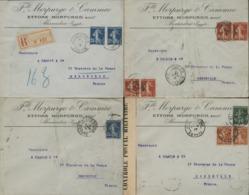 1913-1917 SEMEUSE CAMEE 4 PLIS DE LA MEME CORRESPONDANCE OBLITERES A ALEXANDRIE EN EGYPTE. Voir Description - France