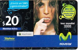 ARGENTINA - Shakira, Tour Mundial 2006, , Movistar By Telefonica Prepaid Card $20, Exp.date 31/12/10, Used - Musique