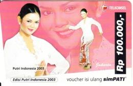 INDONESIA - Girl/Jakarta, Putri Indonesia 2003, Telkomsel Prepaid Card Rp 100000, Exp.date 30/04/05, Used - Indonesië