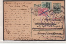 Guerre 1914/18 Carte  De Bruxelles Vers La Panne  Via Les Pays Bas  2 Adresses - WW I