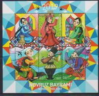 AZERBAIJAN, 2019, MNH, CELEBRATIONS, NOVRUZ, COSTUMES, DANCES, MUSIC, CULTURES, MOUNTAINS, SHEETLET - Celebrations