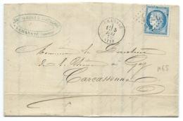 N° 60 BLEU CERES SUR LETTRE / CRANSAC AVEYRON POUR CARCASSONNE  1875 MINES DE CAMPAGNAC - Marcophilie (Lettres)