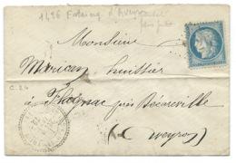 N° 60 BLEU CERES SUR LETTRE / ESTAING D'AVEYRON AVEYRON POUR FLAGNAC  1872/ GC 1426 INDICE 10 - Storia Postale