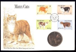 Isle Of Man Yv 393/96 , Chats-Manx Cats. Coin Cover-FDC +monnaie. - Man (Ile De)