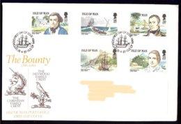 Isle Of Man Yv 397/401 , The Bounty-mutinerie Du Bounty. FDC Circulé - Man (Ile De)