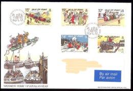 Isle Of Man Yv 427/31, Cartes Postales Mannoises Classiques. FDC Circulé - Man (Ile De)