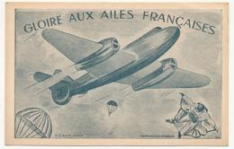 """AVIATION - Carton 9 X 14 - """"Gloire Aux Ailes Françaises"""" - Aviation"""