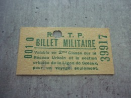 Ancien Ticket RATP Métro Billet Militaire Ligne De Sceaux - Titres De Transport