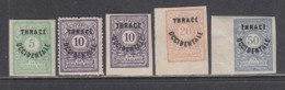 """Thrace 1920 - Bulgarian Stamps With Overprint """"THRACE OCCIDENTALE""""(5 V.), Mi-Nr. Porto 4/7, MNH** - Thrace"""