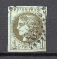 - FRANCE N° 39C Oblitéré Losange GC - 1 C. Olive Emission De Bordeaux 1870, Report 3 - Cote 180 EUR - - 1870 Emission De Bordeaux