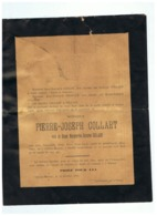 FAIRE PART DE DECES M PIERRE JOSEPH COLLART Décédé à CEROUX MOUSTY 1903 - Santini