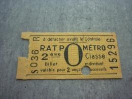 Ancien Ticket RATP Métro 2ème Classe Valable Pour 2 Voyages Successifs Publicité Réveil Jaz - Metropolitana