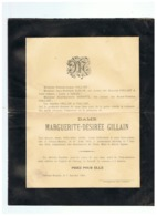 FAIRE PART DE DECES DAME MARGUERITE - DESIREE GILLAIN   Décédée à CEROUX MOUSTY 190 - Santini
