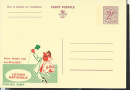 Publibel Neuve N°  2326 ( Natio,nale Loterij -Loterie Nationale) Trèfle à Quatre Feuilles) - Stamped Stationery