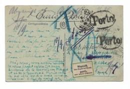 """Cachets :  """"PORTO """"   """" Parti Sans Laiser D'adresse """"   """" Wiesbaden 1921""""  """" Auxerre""""  """" Juan Les Pins - Storia Postale"""