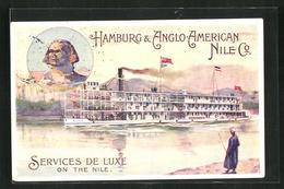 Künstler-AK Nil-Kreuzfahrtschiff SS Nubia, Hamburg & Anglo-American Nile Co. - Ships