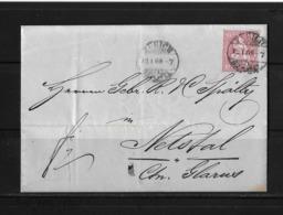 1867-1878 SITZENDE HELVETIA (gezähnt) → Brief Zürich Nach Netstal Glarus ►SBK38◄ - 1862-1881 Sitted Helvetia (perforates)
