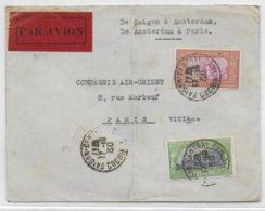 1930 - SAÏGON à AMSTERDAM Et AMSTERDAM à PARIS - INDOCHINE - ENVELOPPE TEST AIR ORIENT - DATE ET HEURE D'ARRIVEE AU DOS - 1927-1959 Lettres & Documents